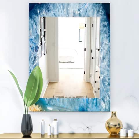 Designart 'Geode Interior With Light Blue Crystals' Mid-Century Mirror - Vanity Mirror