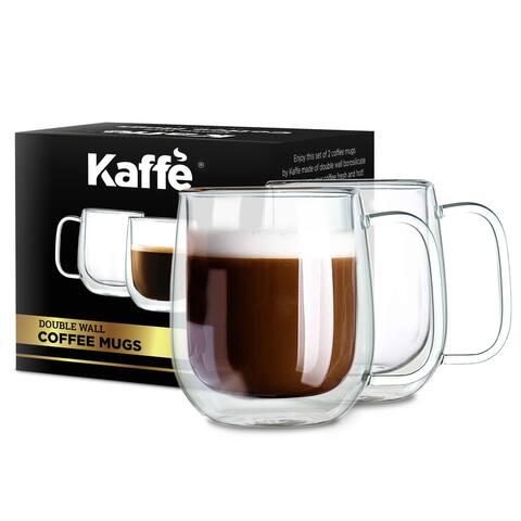 KF4041 Coffee Mugs by Kaffe. 10oz - Set of 2 (Two). Double-Wall Borosilicate Glass Cups