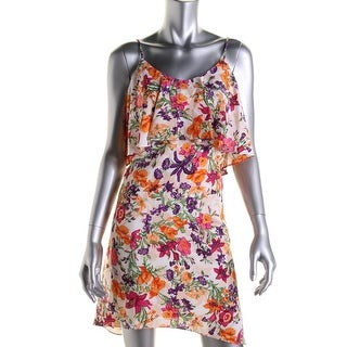 BCBGeneration Womens Floral Print Fly-Away Casual Dress