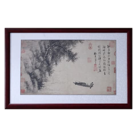 Boat Fishing at a Reed Shoal by Wu Zhen Chinese Painting Solid Wood Frame 33 x 21