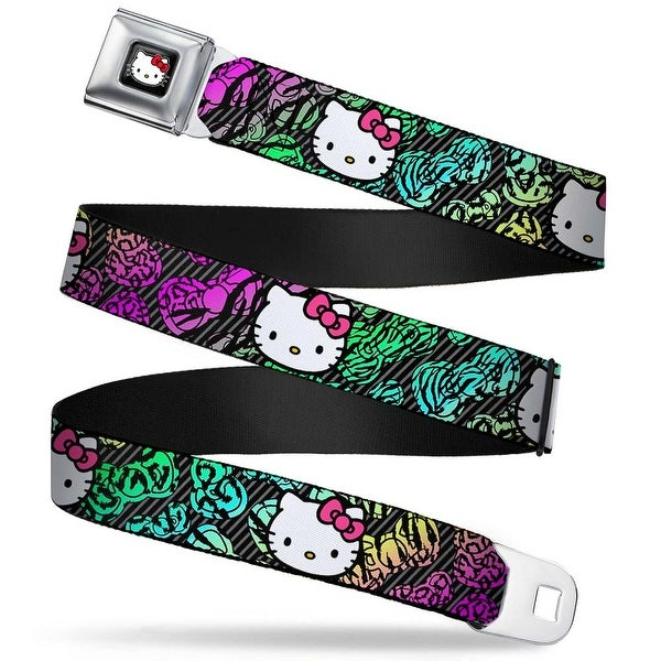 Hello Kitty W Red Bow Full Color Black Hello Kitty Face Pink Bow Scribble Seatbelt Belt