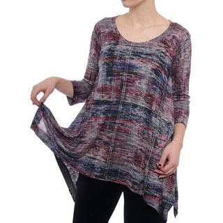 Nally & Millie Asymmetric Printed Pullover Top Women Regular Blouse