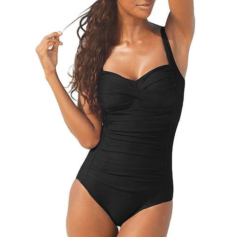Hilor Women's One Piece Swimsuits Front Twist Bathing Suits, Black, Size 16.0 - 16