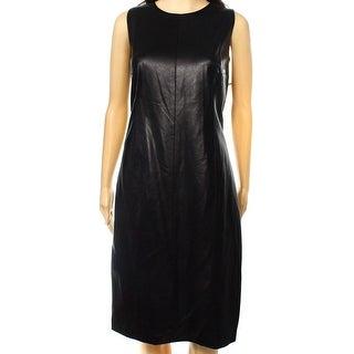 Lauren by Ralph Lauren NEW Black Women's 4 Sheath Faux-Leather Dress