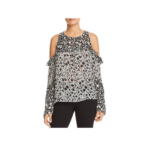 Red Haute Womens Blouse Printed Cold Shoulder - XL