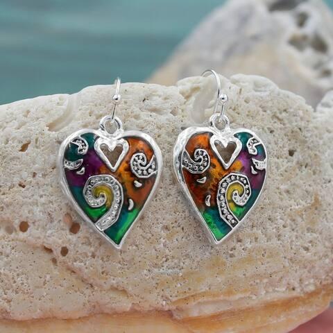 Handmade Rainbow & Silvertone Mosaic Heart Drop Earrings