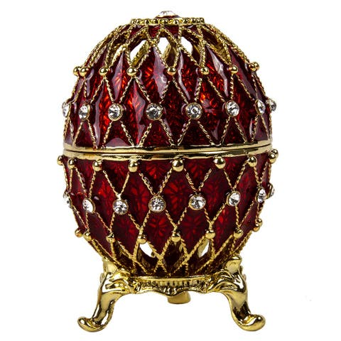 Imperial Faberge Openwork Mesh Egg / Jewelry Box in Red