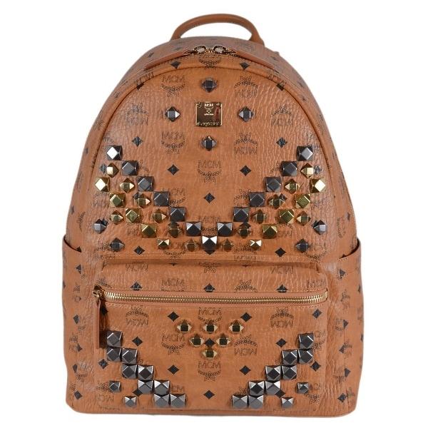 ccbaaeebbe MCM Cognac Brown Studded Coated Canvas Visetos Stark Backpack Bag - Beige