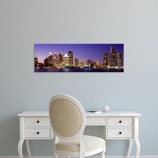 Easy Art Prints Panoramic Images's 'Dusk Detroit, Michigan, USA' Premium Canvas Art