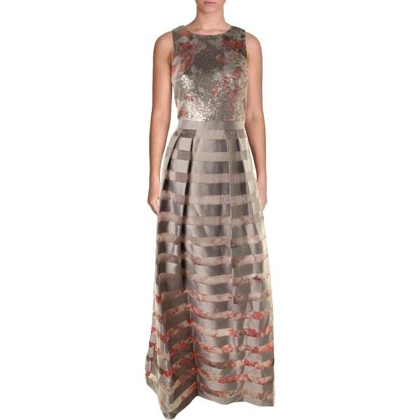 Kay Unger Womens Evening Dress Silk Metallic