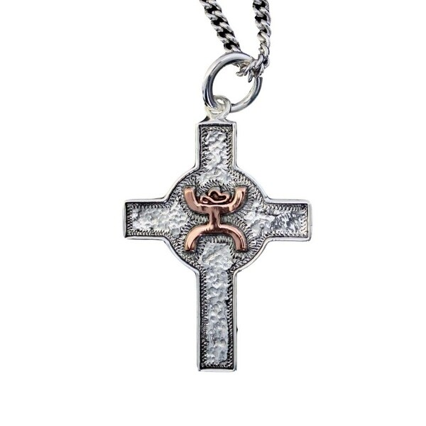 """HOOey Western Necklace Womens Hammered Cross 1 1/2"""" HY316-003 - Silver"""
