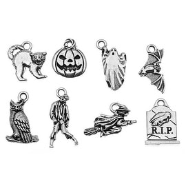 TierraCast Antiqued Silver Lead-Free Charm - Eight Piece Halloween Charm Collection (8)