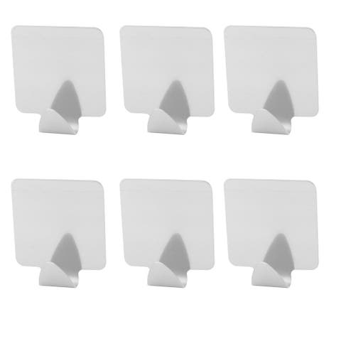"""Home Stainless Steel Door Wall Sticky Bag Brush Holder Hook 6pcs - Silver - 1.4"""" x 1.4"""" x 0.6""""(L*W*H)"""