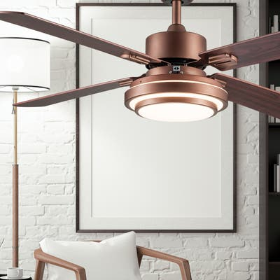 """Brym River of Goods 51-inch LED Integrated Ceiling Fan With Light - 51"""" x 51"""" x 12.25""""/16.25"""""""