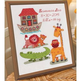 """Two By Two Birth Record Counted Cross Stitch Kit-10""""X13"""" 14 Count"""