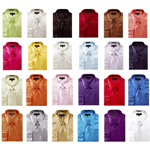 f36437cd Shop Men's Solid Color Satin Dress Shirt 1 - Free Shipping On Orders ...
