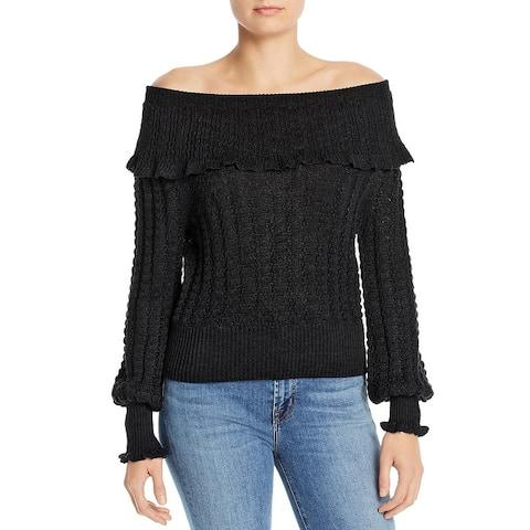 Free People Womens Sweater Knit Ruffled