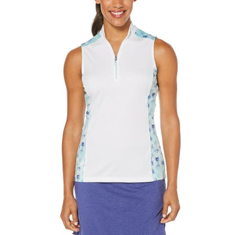 PGA TOUR Women's Colorblocked Half-Zip Golf Polo Shirt (Beach glass, Medium)