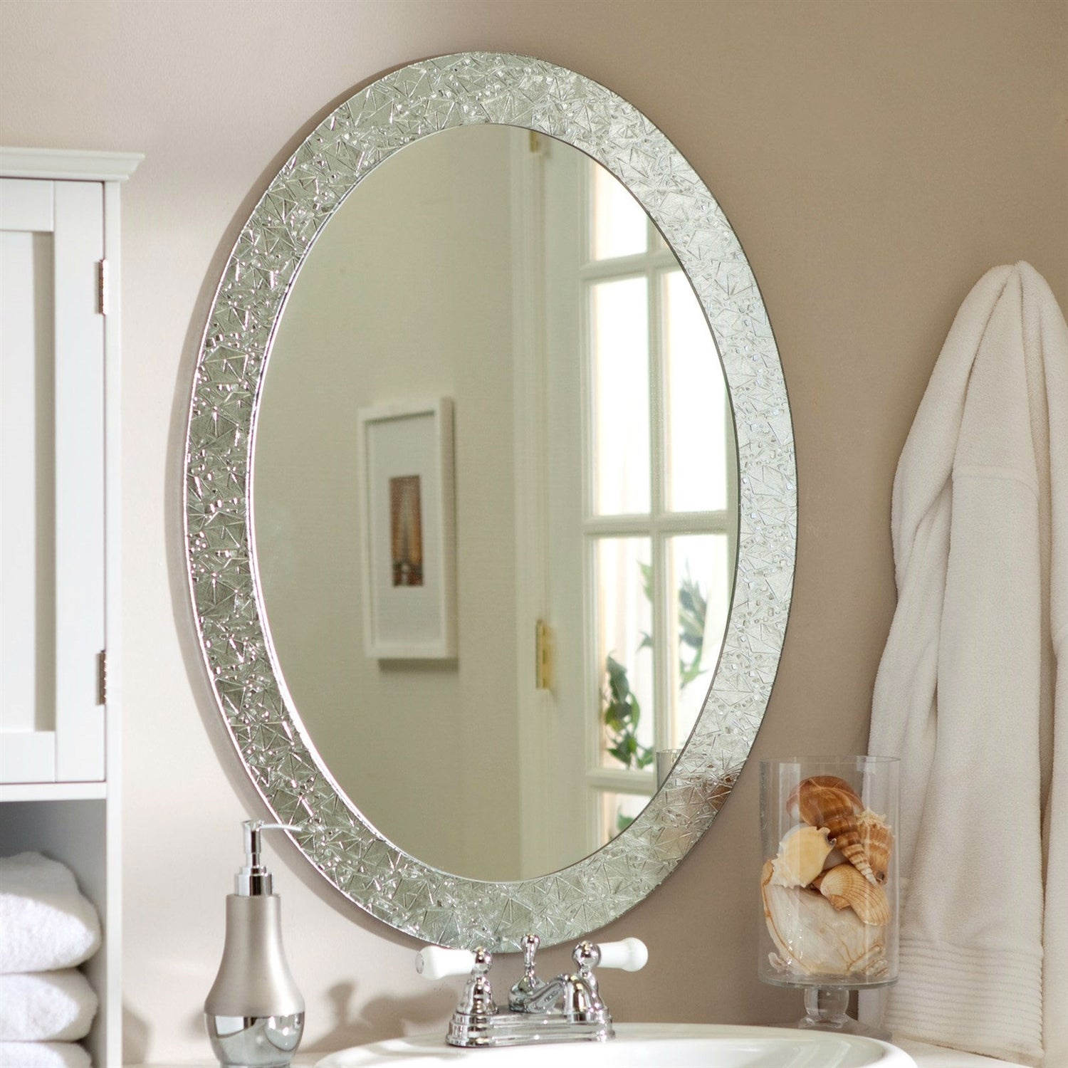 Oval Frame Less Bathroom Vanity Wall Mirror With Elegant Crystal Look Border 31 5l X 23 5w X 5d In On Sale Overstock 29084510