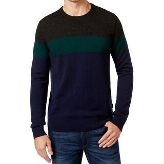 Michael Kors Blue Mens Size XL Crewneck Wool Colorblock Sweater