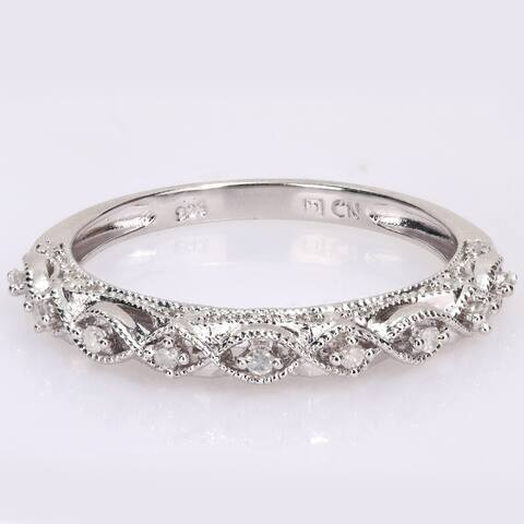 Miadora Sterling Silver 1/8ct TDW Diamond Infinity Anniversary Wedding Band Ring