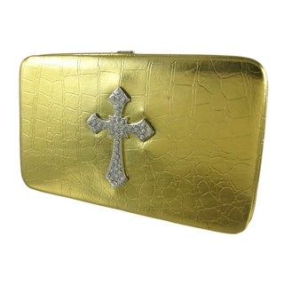 Metallic Gold Mock Croc Rhinestone Cross Wallet