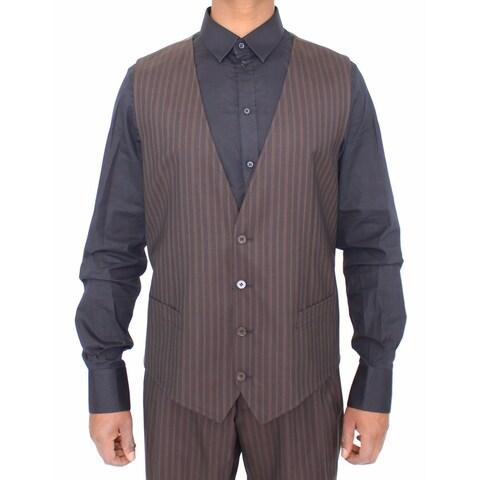 Dolce & Gabbana Dolce & Gabbana Brown Striped Stretch Dress Vest Gilet - it54-xl