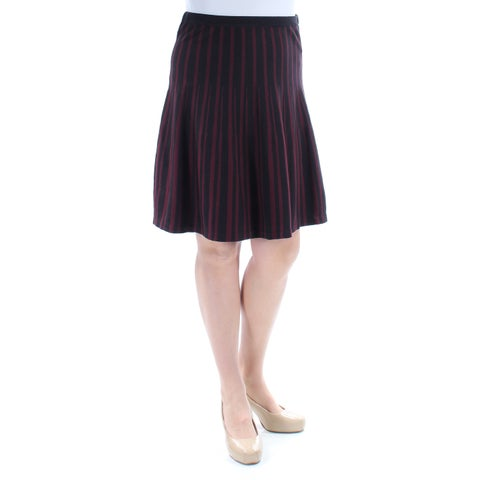 Womens Maroon Black Striped Casual Skirt Size L