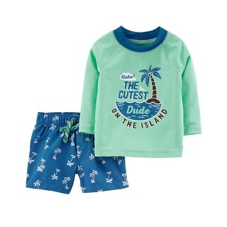 Carter's Baby Boys' 2-Piece Rashguard Set - mint/dude