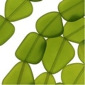 Cultured Sea Glass, Flat Freeform Beads 18-28mm, 5 Pieces, Olive Green - Thumbnail 0