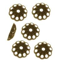 Antiqued Brass Openwork Daisy Bead Caps - 6mm (50)