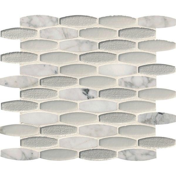 "MSI SMOT-SGLSOB-EL8MM 12"" x 11-7/16"" Oval Mosaic Sheet - Varied Glass and Stone Visual - Sold by Carton (9.5 SF/Carton)"