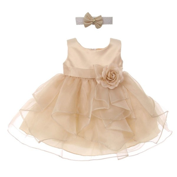 Good Girl Baby Girls Champagne Satin Organza Sleeveless Flower Girl Dress