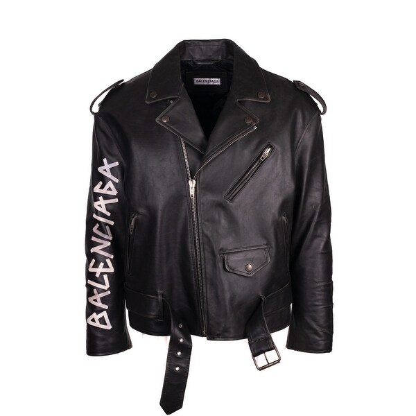 Painted Logo S Men's Balenciaga Biker Black Jacket Shop Leather UxaBIqq