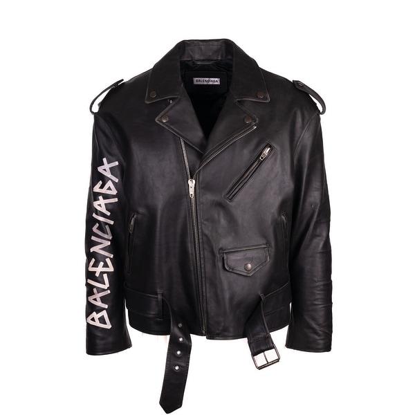1fbe078fad6 Balenciaga Women  x27 s Black Leather Painted Logo BIker Jacket Sz FR36 US 4