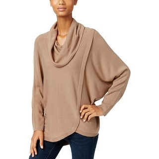 NY Collection Womens Pullover Sweater Asymmetric Cowl Neck