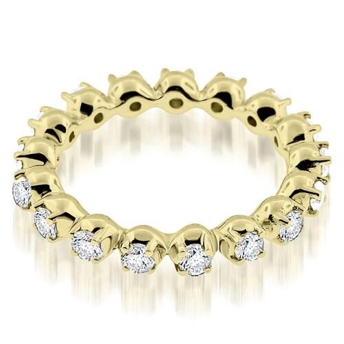 0.85 cttw. 14K Yellow Gold Stylish Basket Round Cut Diamond Eternity Band Ring