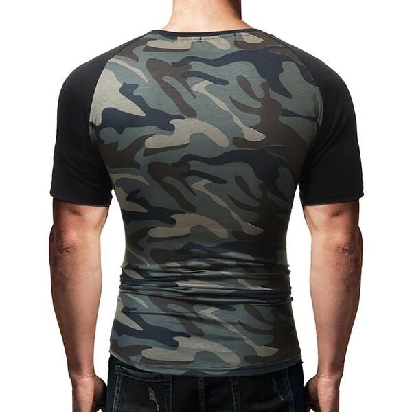 Mens Camo Round Neck Short Sleeve Cotton Casual T-shirt Slim Muscle Tops Summer