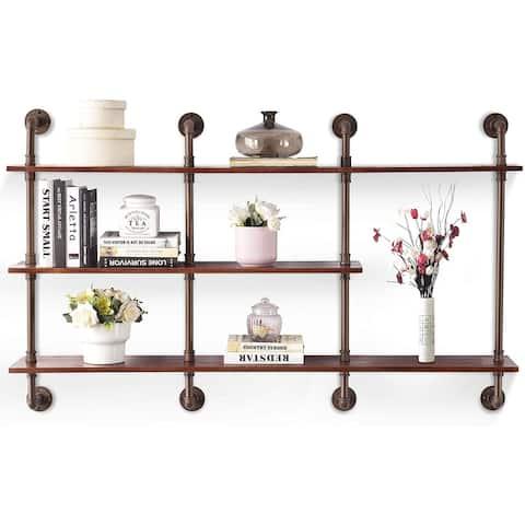 3-tier Industrial Pipe Wall Shelf 63 inch Floating Bookshelf Storage