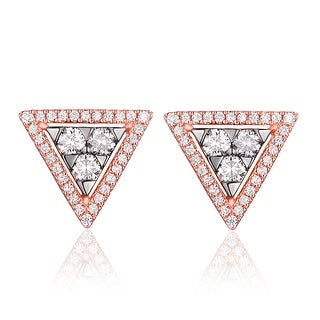 Triangle Shaped 0.50ct G-H/SI1 Round Cut Natural Diamond Push Back Earring - White G-H