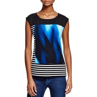 Calvin Klein Womens Pullover Top Printed Cap Sleeves