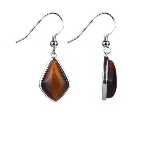 Sterling Silver With Natural Tiger Eye Fancy Dangle Earring