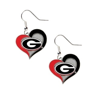 Georgia Bulldogs Swirl Heart Dangle Logo Earring Set Charm Gift NCAA