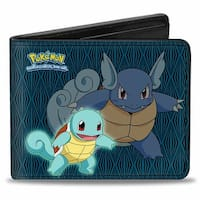 Squirtle Wartortle Pokmon Logo + Blastoise Diamonds Blue Black Bi Fold Bi-Fold Wallet - One Size Fits most