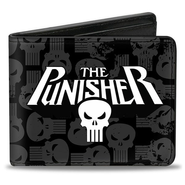 Marvel Universe The Punisher Logo Weathered Logos Black Gray White Bi Fold Bi-Fold Wallet - One Size Fits most