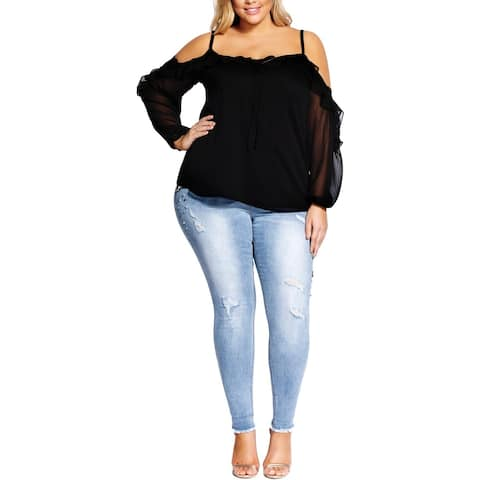 City Chic Womens Plus Adaline Blouse Ruffled Cold Shoulder