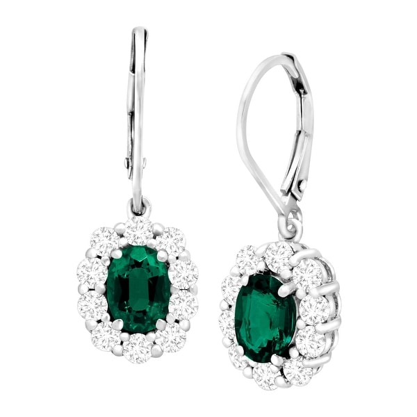 3 1/3 ct Created Emerald & Created White Sapphire Drop Earrings in Sterling Silver - Green