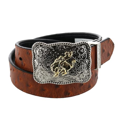 Rogers-Whitley Kids Reversible Ostrich Print with Rodeo Buckle