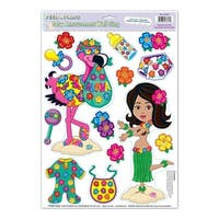 Club Pack of 168 Colorful Tropical Luau Hula Baby Peel 'N Place Cutout Decorations 17""