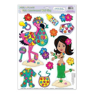 """Club Pack of 168 Colorful Tropical Luau Hula Baby Peel 'N Place Cutout Decorations 17"""""""